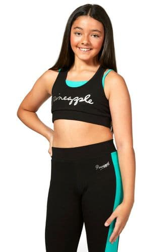 PINEAPPLE DANCEWEAR Girls Double Crop Top Mint Green with Silver Logo Dance Gym